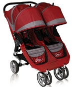 City Mini Double Stroller 2011 by Baby Jogger with Quick Easy Fold Technology in Crimson Red / Grey Model 81176.