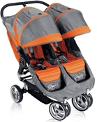 City Mini Double Stroller 2011 by Baby Jogger with Quick Easy Fold Technology in Orange Grey.