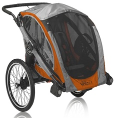 Baby Jogger POD Customizable Chassis Trailer in Orange / Grey