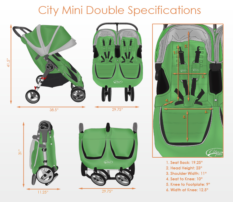 Baby Jogger City Mini Double Stroller 2014 In Teal Grey